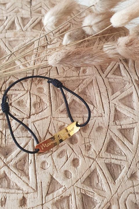 """Bracelet Médaille """"Mamie"""" Cordon Black"""