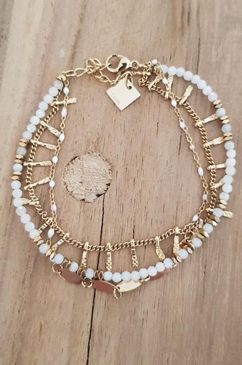 Bracelet Trio Perles Agathe Blanche - N4