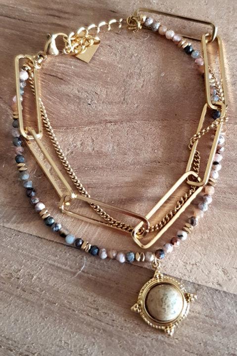 Bracelet Maille Trombonne - Jaspe Naturel