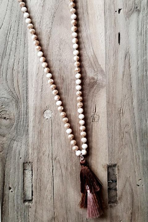 Sautoir Perles et Pompon - Pink Nude