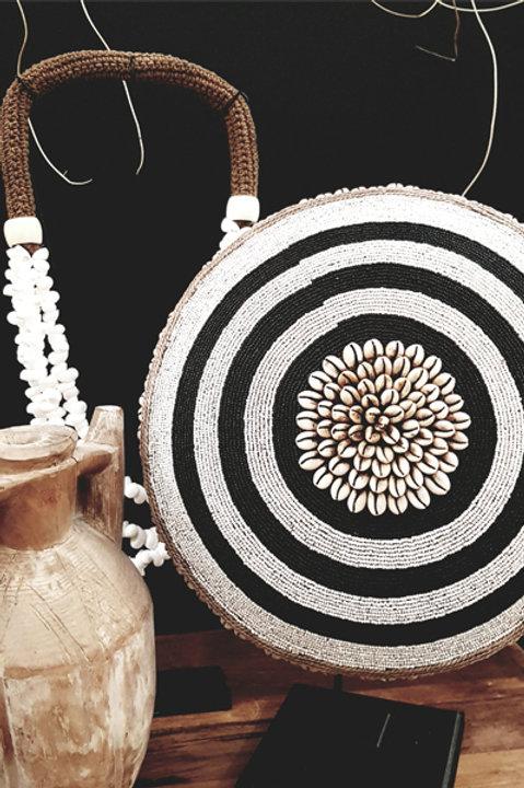 Bouclier African Perles Coquillages Bicolore - 34cm
