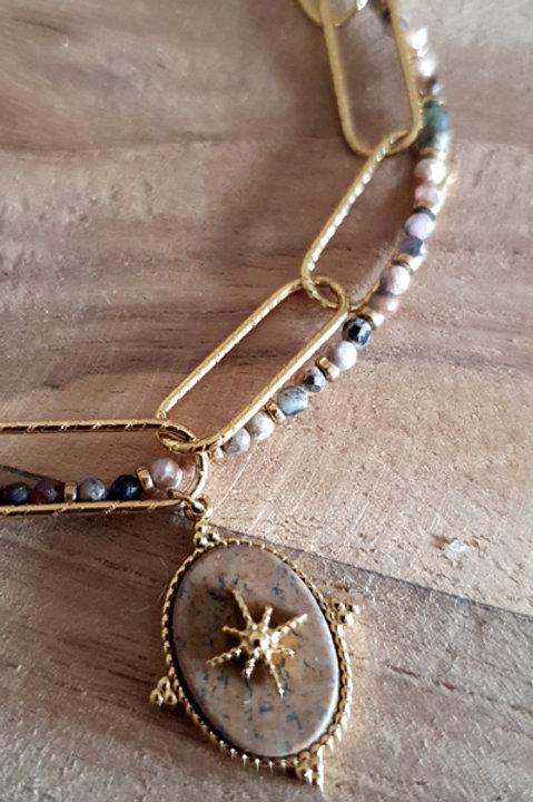 Bracelet Maille Trombonne Astrale - Jaspe Naturel
