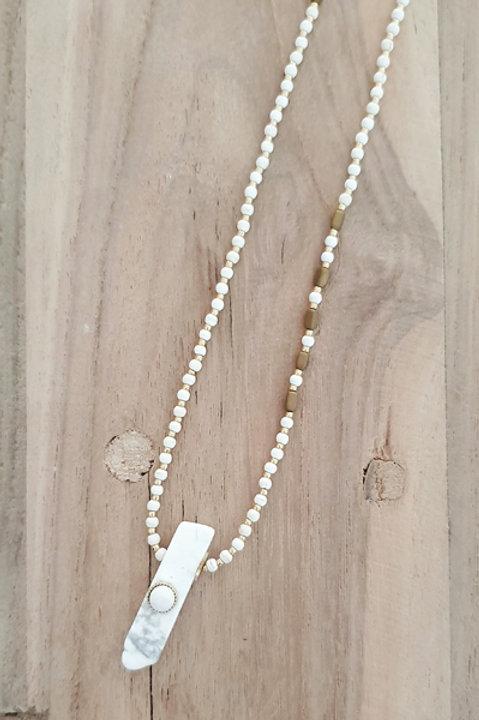 Collier Sautoir - Perles de Pierre Howlite