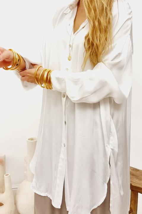 Chemise Loose Satinée Blanc