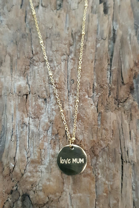 Collier Médaille - Love Mum