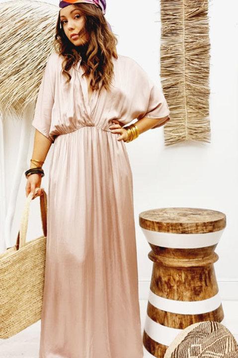 Robe Satinée Clifton - Nude