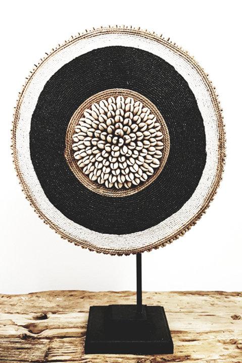 Bouclier African Perles Coquillages Noir et Blanc - 30cm