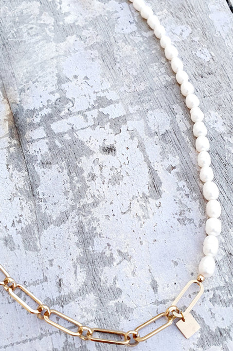 Sautoir Chainette - Perles de Culture