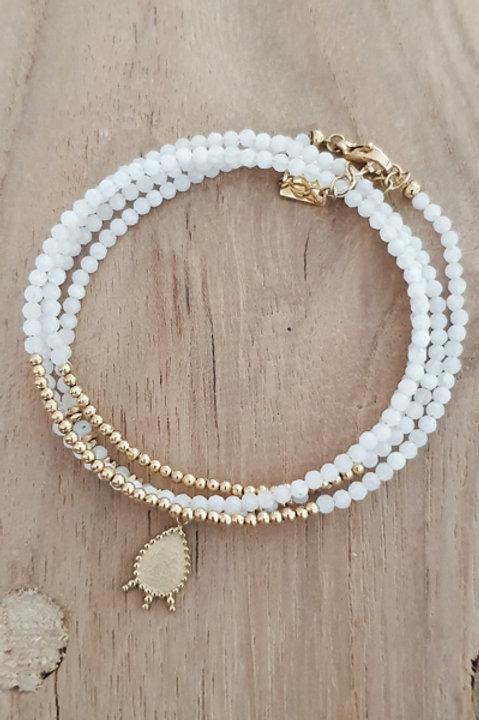 Bracelet Duo Collier - Perles de Pierres Naturelles - Agathe Blanche - N6
