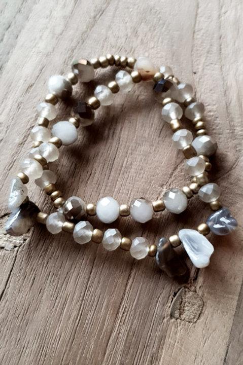 Bracelet Duo Perles et Pierres - Grey