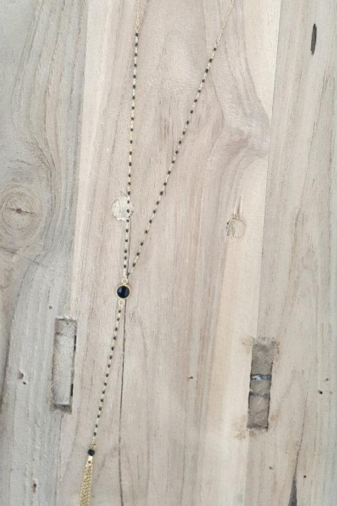 Sautoir Perles Emaillées - Onyx Noire