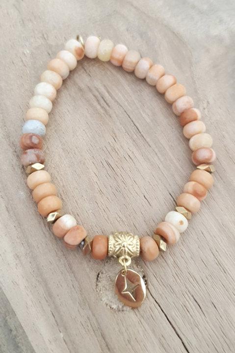 Bracelet Perles de Pierre - Jaspe Rouge