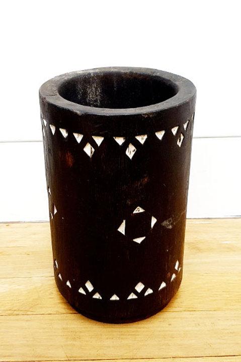 Vase Bois Sculpté - Black