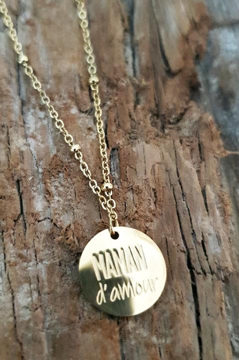 Collier Médaille - Maman d'Amour