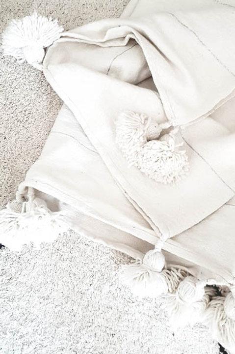 Plaid Laine Pompons XL - Blanc