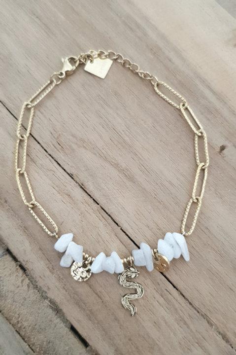 Bracelet Chainette - Pierre Druzy Agathe Blanche N3