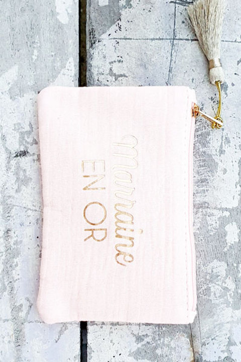 Pochette Marraine en Or - Rose