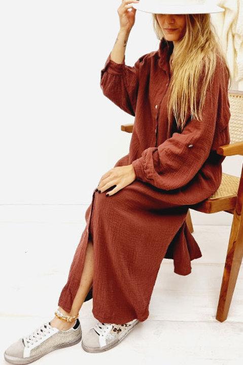 Robe Chemise Gaze de Coton - Prune