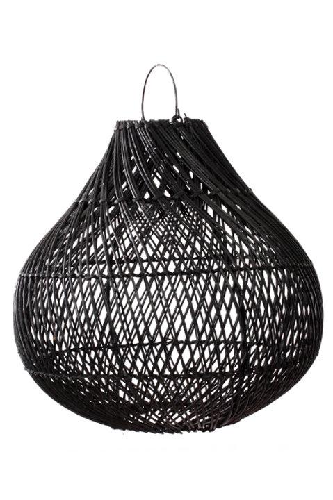Lampe Osier Noire Forme Boule - M