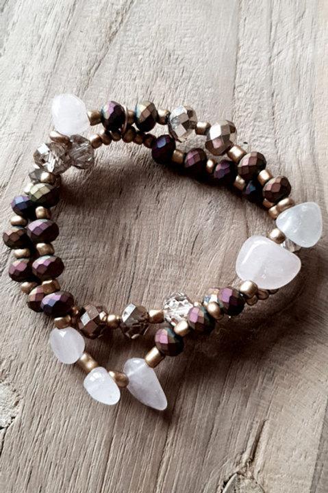 Bracelet Duo Perles et Pierres - Pink