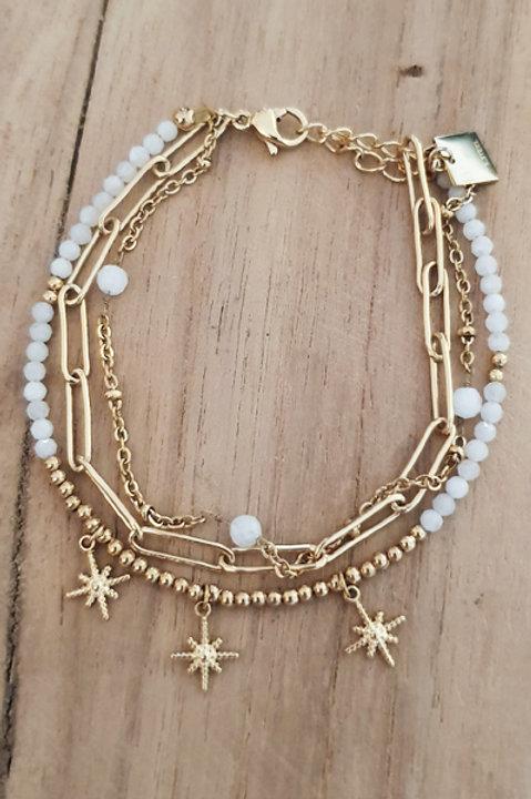 Bracelet Trio Perles Agathe Blanche - N1