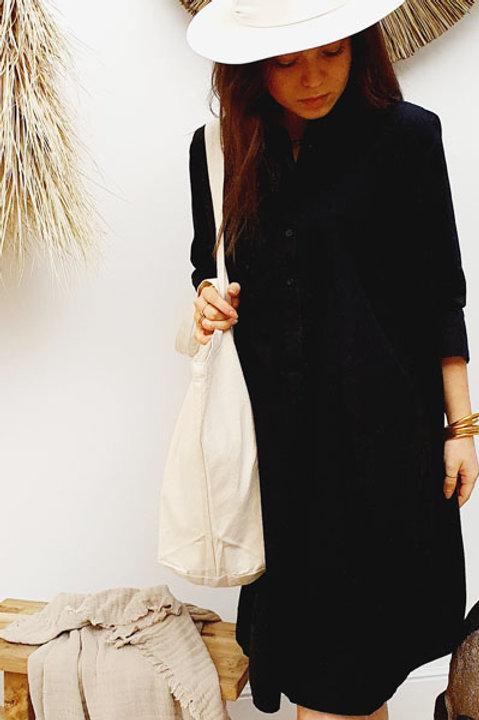 Robe Oversize Manche 3/4 Popeline de Coton