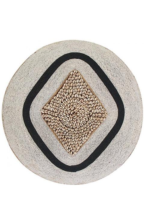 Bouclier African Perles Coquillages Bicolore - 55cm