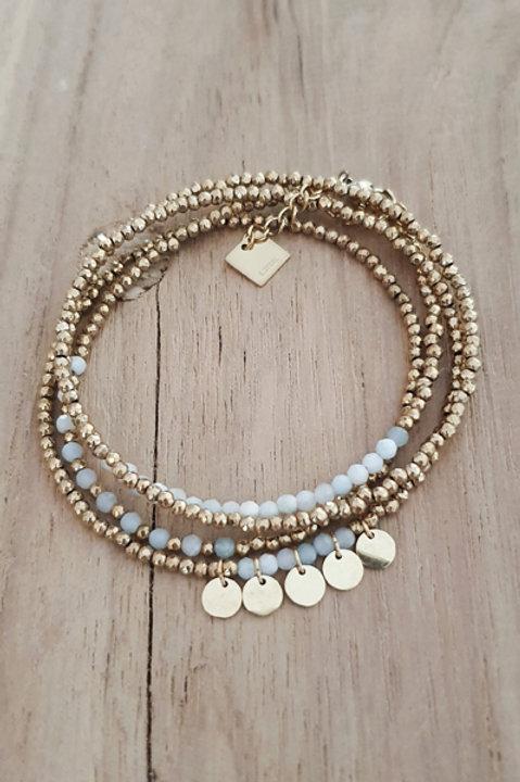 Bracelet Duo Collier - Perles de Pierres Naturelles - Aigue Marine - N1