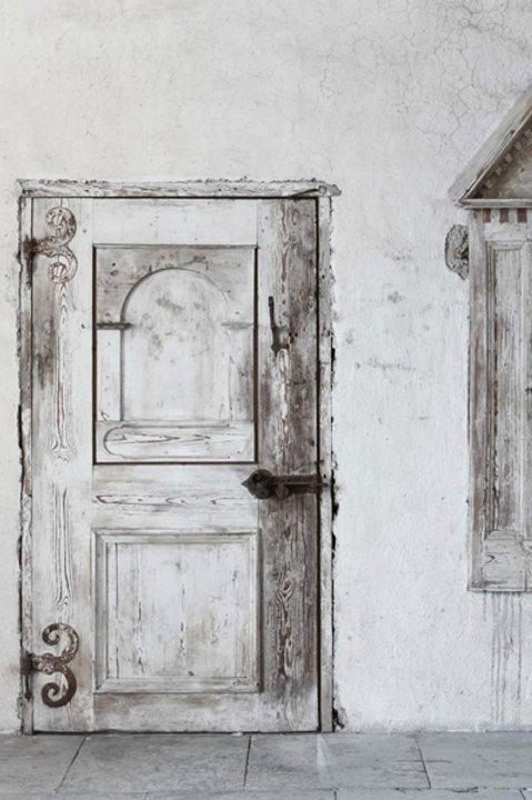 Affiche - Old Door Wood - Black White