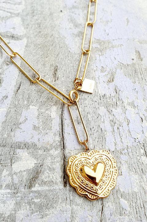 Sautoir Chainette Médaille Coeur Gold