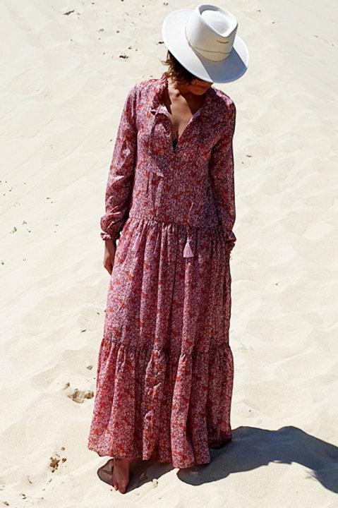 Longue Robe Fleurie - Pink