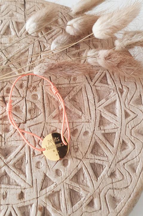 """Bracelet Médaille """"Petits Bonheurs"""" Cordon Corail"""