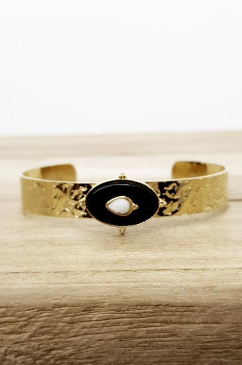 Bracelet Jonc Azteque Oval Onyx Black