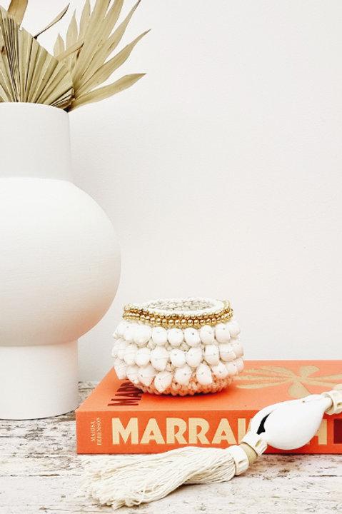 Panière Macramée Perles et Coquillage - Gold