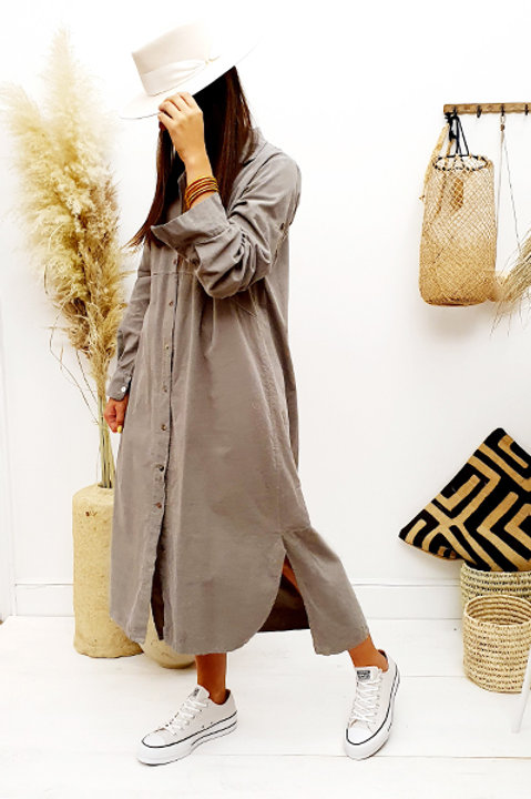 Robe Chemise Longue - Velours