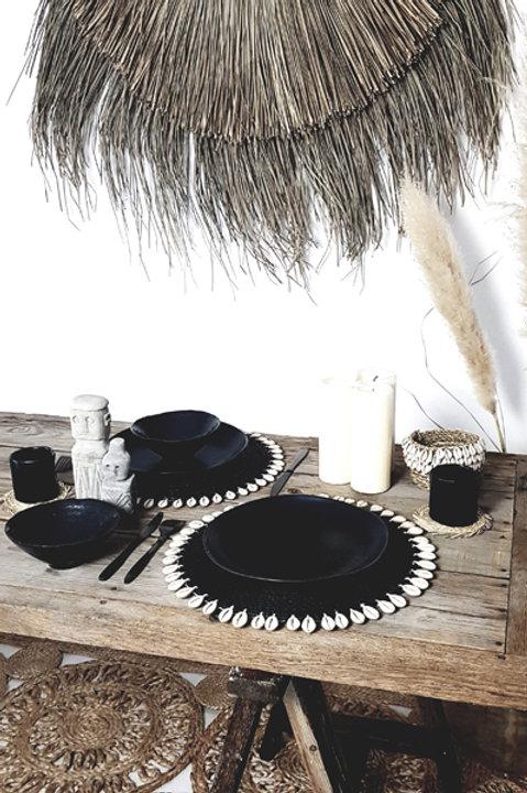 Set de Table Assiette Coquillage Noir