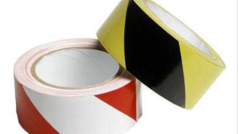 Bande autocollantes jaune/blanc ou rouge/blanc