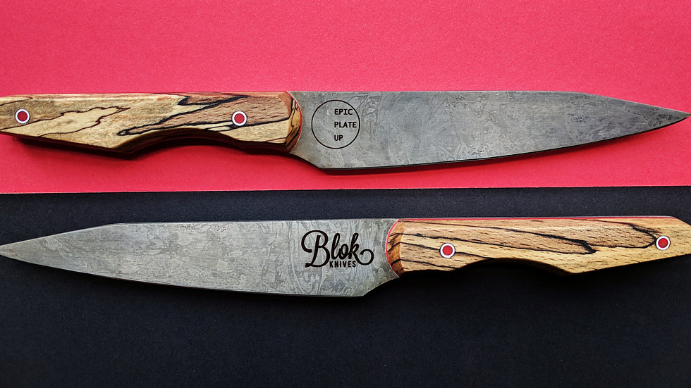 """Limited Edition 6"""" High Carbon 'BLOK & EPIC PLATE UP' Paring Knife."""
