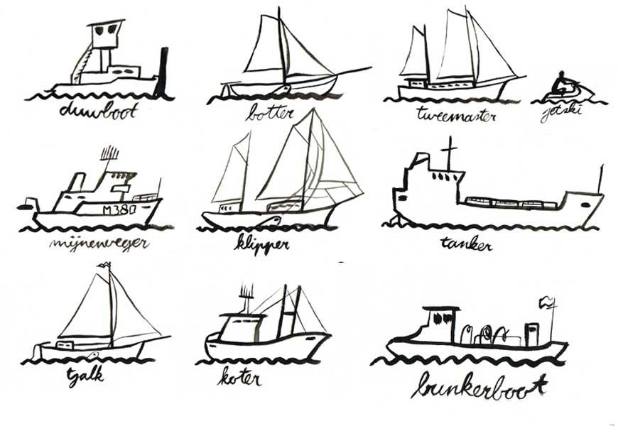Collectie iconen van type schepen