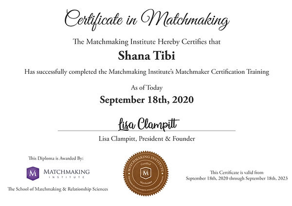Matchmaker Certification - Shana Tibi.jp