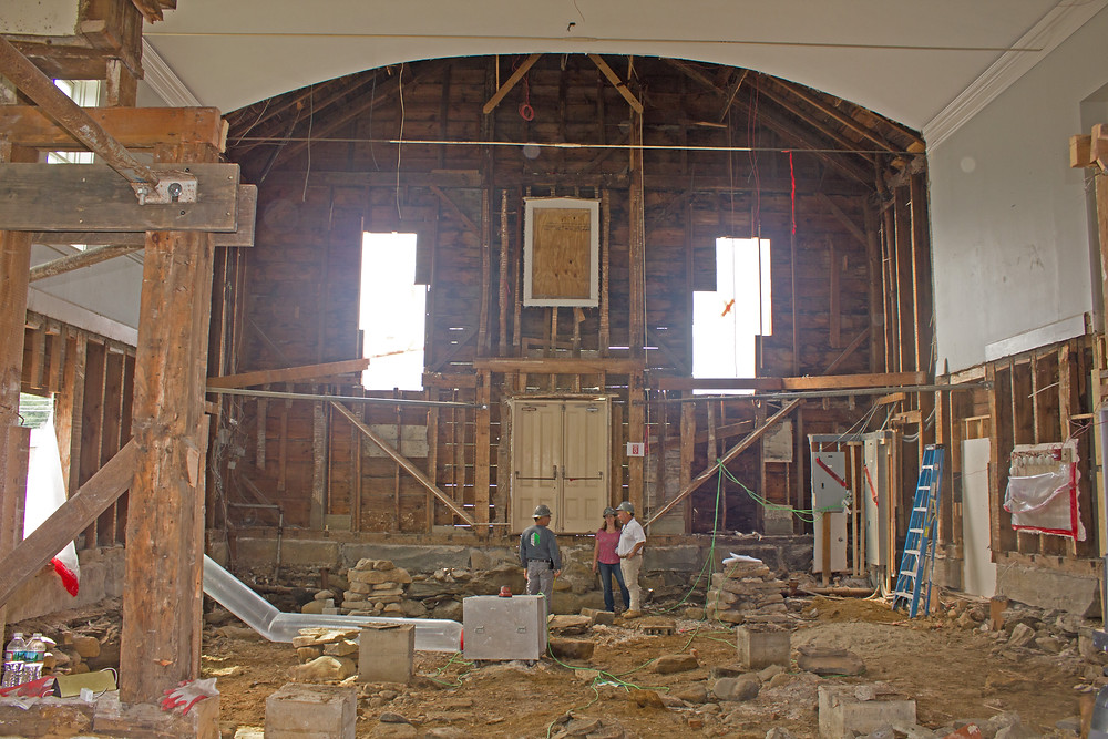 A view inside the Meeting House as crews complete selective demolition