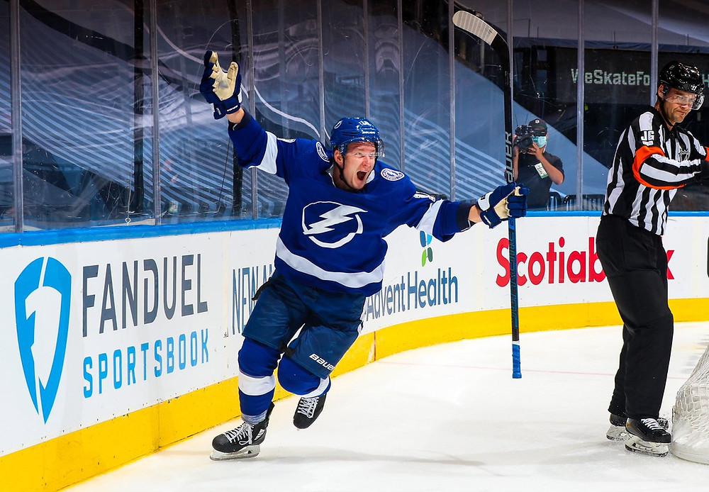 Tampa Bay Lightning Player Celebrating a Goal Image