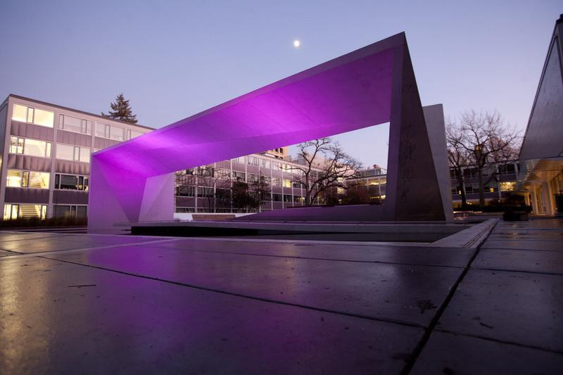 Buchanan art instalment lit purple representing arts faculty image
