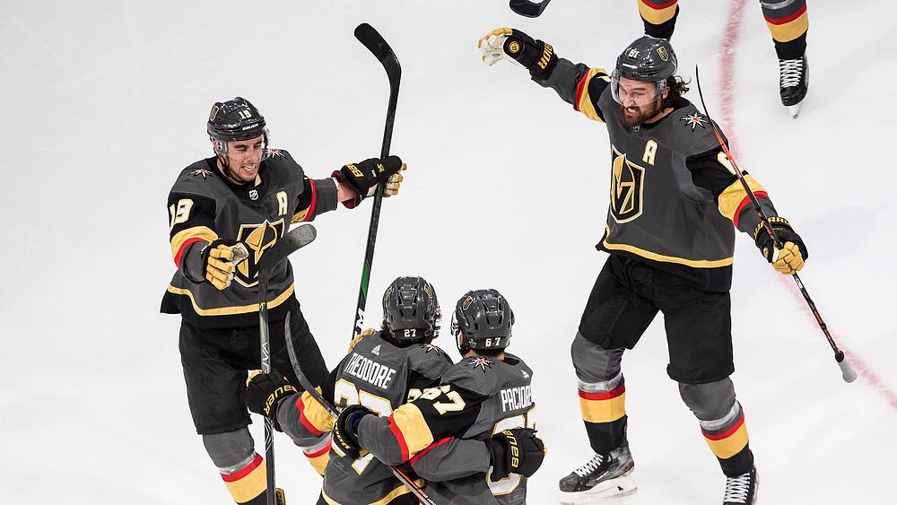 Vegas Golden Knights Players Celebrating a Goal Image
