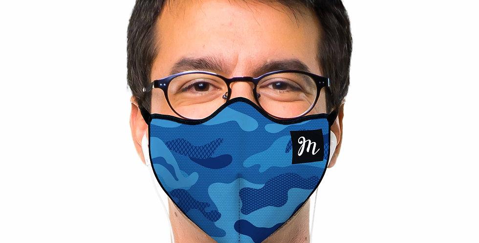 Mascherina Camouflage Blu