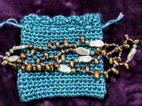 Silvery Green bracelets/ Necklace pouch