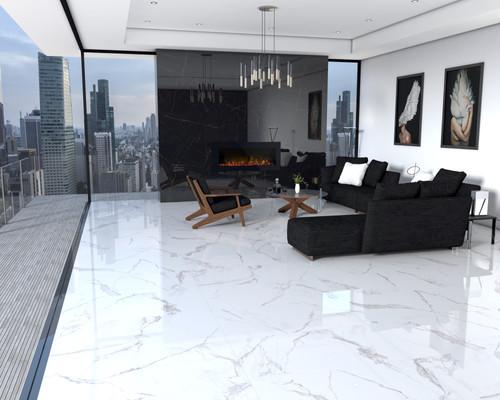 Polished Estatuario Marble Porcelain and Nero Ardi Polished Porcelain Tile in 24x48.jpg