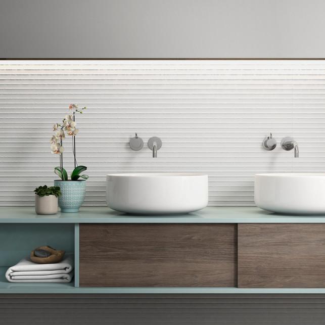 Pure white Kendrige Ribbon Trafic Ceramic Tile | Mirrella