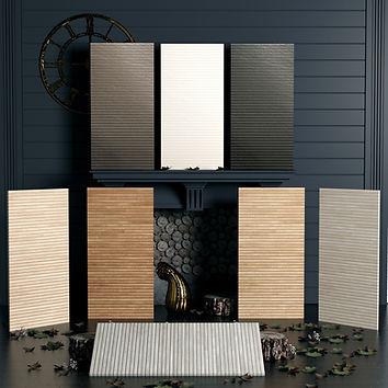 Ribbon Wood Look and Metallic Tiles