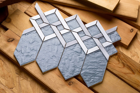 Mirrella Tile, Slate gray glass coupled with silver and gray aluminum.